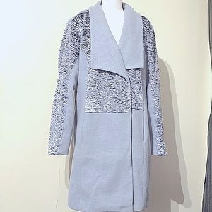 H by Halston Gray Princess Collar Long Coat XL